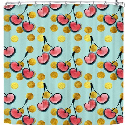 Bruxamagica Cherry with Gold Dots Shower Curtain