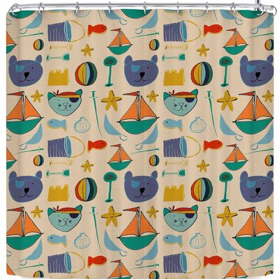 Bruxamagica Cat and Bear Pirates Shower Curtain