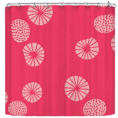 Bruxamagica Dandelion Aqua Shower Curtain Color: Red