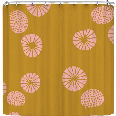Bruxamagica Dandelion Aqua Shower Curtain Color: Yellow
