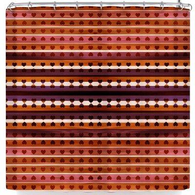 Ebi Emporium Hearts Together Shower Curtain Color: Orange/Purple
