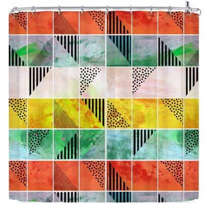 Bruxamagica Tartan and Gold Shower Curtain Color: Orange/Green