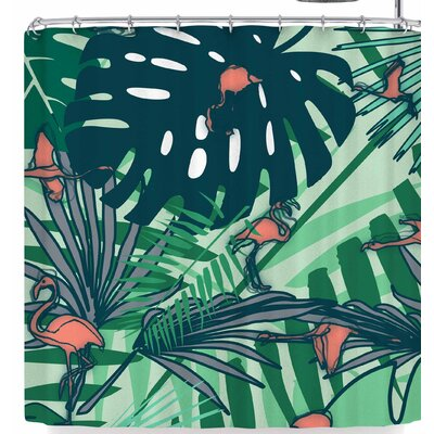 Bruxamagica Flamingo and Tropical Leaves Shower Curtain