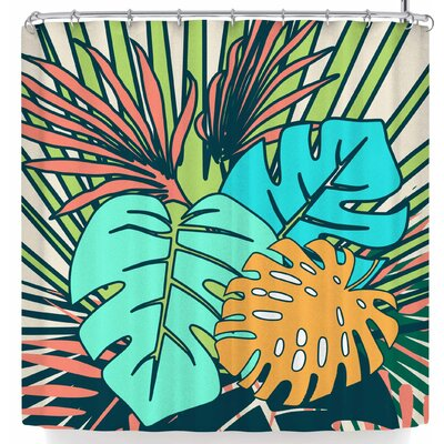 Bruxamagica Tropical Leaves Cream Shower Curtain