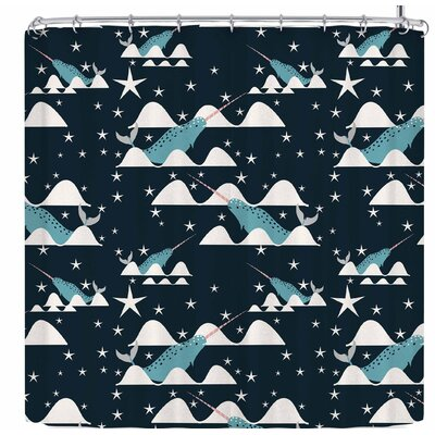 Bruxamagica Narwhal with Star Navy Shower Curtain