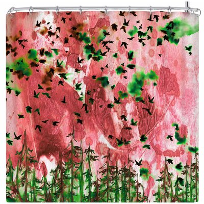 Ebi Emporium Were Better Together Shower Curtain Color: Pink/Green