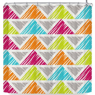 Julia Grifol Happy Triangles Shower Curtain Color: Gray/Orange
