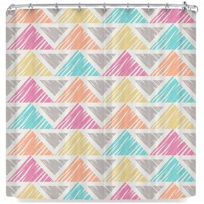 Julia Grifol Happy Triangles Shower Curtain Color: White/Orange