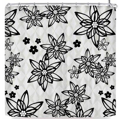 Julia Grifol Floral In Shower Curtain Color: Black