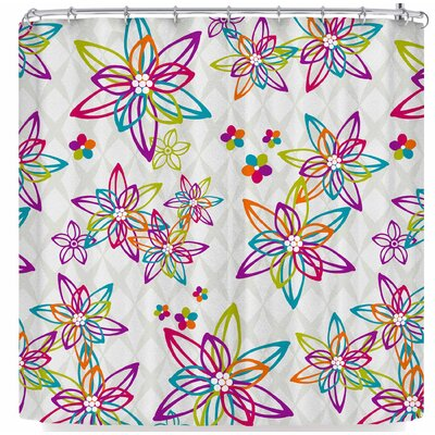 Julia Grifol Floral In Shower Curtain Color: White/Orange