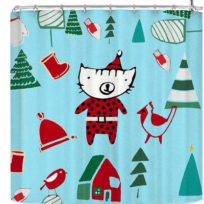 Bruxamagica Cute Santa Cat Shower Curtain Color: Blue/Red