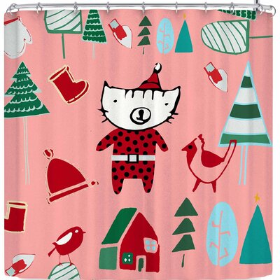 Bruxamagica Cute Santa Cat Shower Curtain Color: Pink/Red