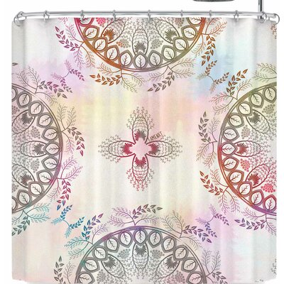 Famenxt Soft Pastel Color Mandala Shower Curtain Color: Beige