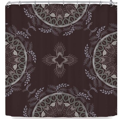 Famenxt Soft Pastel Color Mandala Shower Curtain Color: Brown