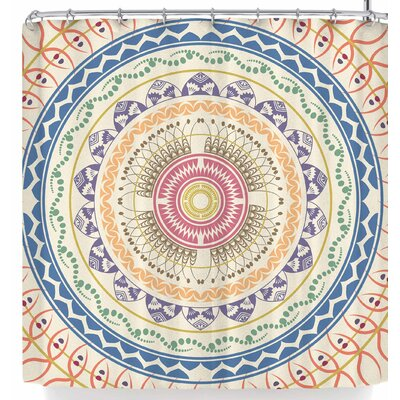 Famenxt Boho Mandala In Soft Colors Shower Curtain Color: Beige/Orange