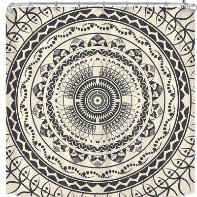 Famenxt Boho Mandala In Soft Colors Shower Curtain Color: Black