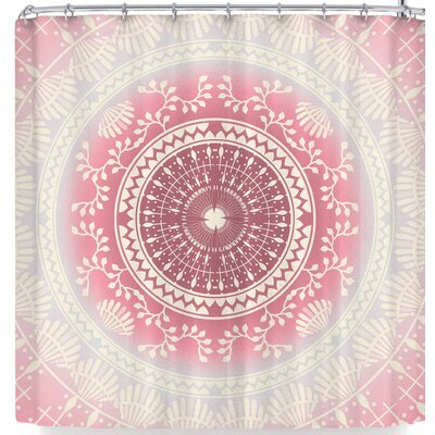 Famenxt Rose Gold Vibes Shower Curtain Color: Red/Beige