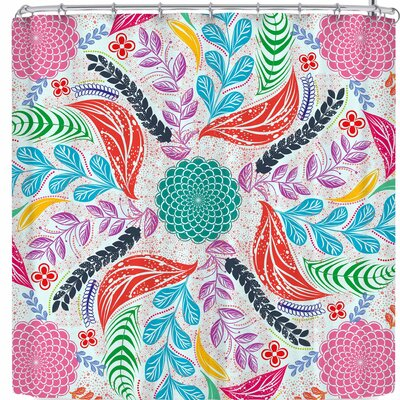 Famenxt Forest Flowers Mandala Shower Curtain Color: Green/Pink