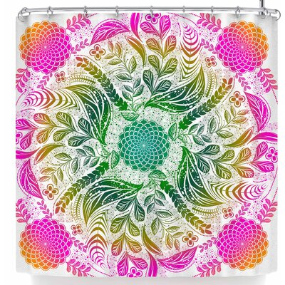 Famenxt Forest Flowers Mandala Shower Curtain Color: Pink