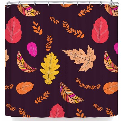 Famenxt Fall Autumn Leaves Shower Curtain Color: Brown