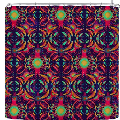 Miranda Mol Boho Ornament Gold Shower Curtain Color: Red/Green
