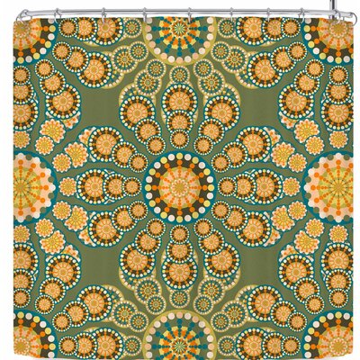 Miranda Mol Pixelated Bright Shower Curtain Color: Green/Orange