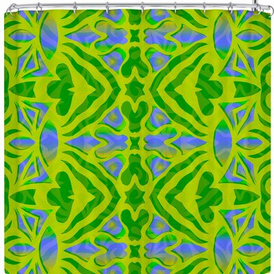 Miranda Mol Ornamental Lace Shower Curtain Color: Green/Blue