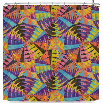 Miranda Mol Tribal Moves Brown Shower Curtain Color: Purple/Orange