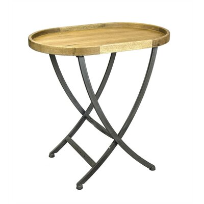 Pangkal Pinang Oval Shape Wood & Metal End Table with Cross Legs
