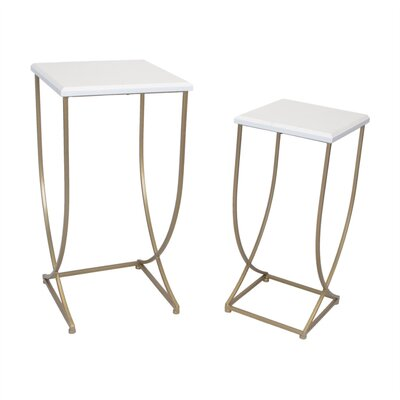 Kibler Stylish Metal 2 Piece Nesting Tables