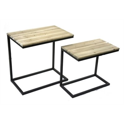 Coulter Classic Metal and Wood 2 Piece Nesting Tables