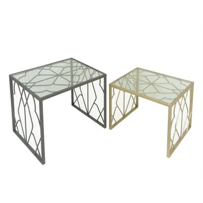 Dewsbury Tremendous Metal & Glass 2 Piece Nesting Tables