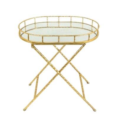 Kiely Appealing Metal & Mirror Oval End Table