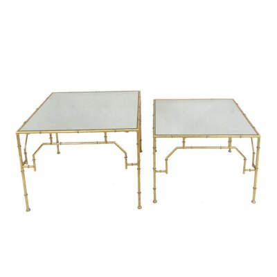 Blake Elegant Metal & Mirror 2 Piece Nesting Tables