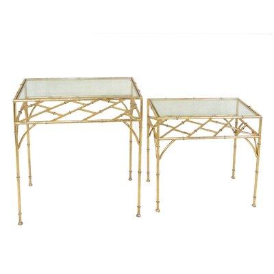 Kiernan Exotic Metal & Glass 2 Piece Nesting Tables