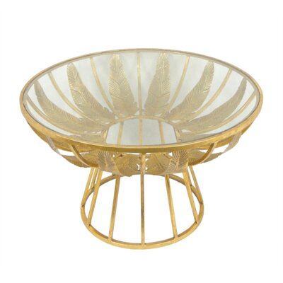 Kight Alluring Palm Leaf Metal & Glass End Table