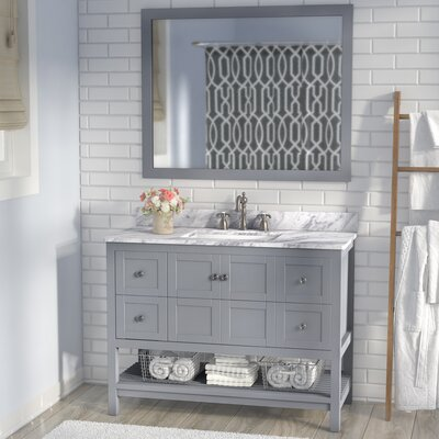 Cline 48 Single Bathroom Vanity Set with Mirror Base Finish: Gray
