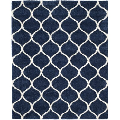 Duhon Shag Navy/Ivory Area Rug Rug Size: Rectangle 8 x 10