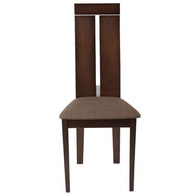 Mcauliffe Upholstered Dining Chair Upholstery Color: Honey Brown, Frame Color: Espresso