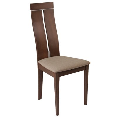 Mcauliffe Upholstered Dining Chair Upholstery Color: Magnolia Brown, Frame Color: Walnut