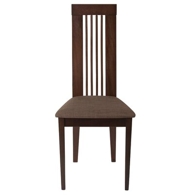 Trott Framed Rail Back Upholstered Dining Chair Upholstery Color: Honey Brown, Frame Color: Espresso