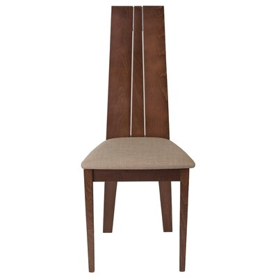 Mcavoy Upholstered Dining Chair Upholstery Color: Brown, Frame Color: Walnut