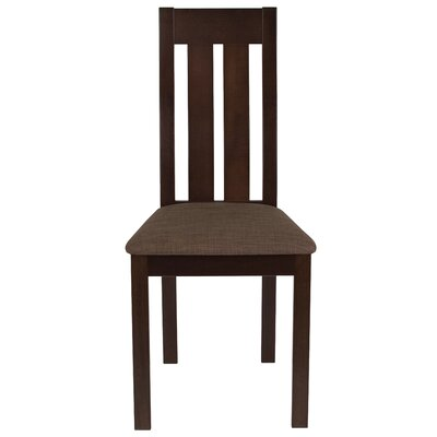 Trotta Vertical Slat Back Upholstered Dining Chair Upholstery Color: Honey Brown, Frame Color: Espresso