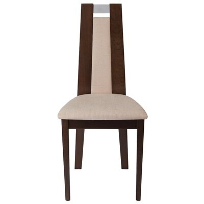 Mcbean Curved Upholstered Dining Chair Upholstery Color: Beige, Frame Color: Espresso