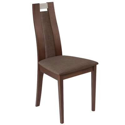Mcbean Curved Upholstered Dining Chair Upholstery Color: Honey Brown, Frame Color: Walnut