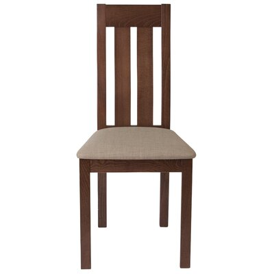 Trotta Vertical Slat Back Upholstered Dining Chair Upholstery Color: Magnolia Brown, Frame Color: Walnut