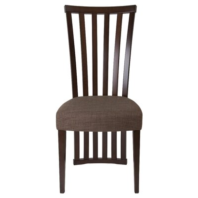 Mcbrayer Rail Back Upholstered Dining Chair Upholstery Color: Honey Brown, Frame Color: Espresso