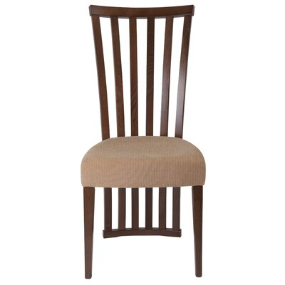 Mcbrayer Rail Back Upholstered Dining Chair Upholstery Color: Brown, Frame Color: Walnut