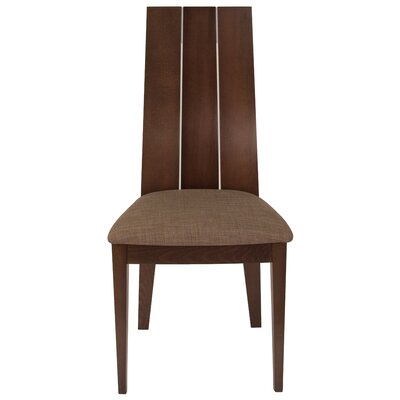 Mcbroom Slat Back Upholstered Dining Chair Upholstery Color: Honey Brown, Frame Color: Espresso