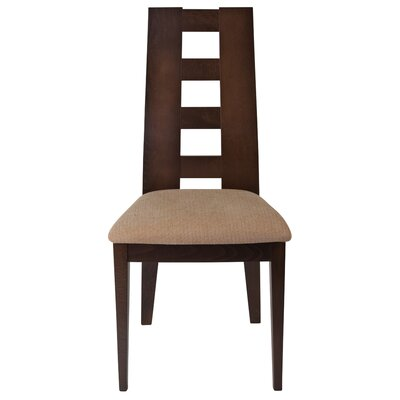 Mcbryde Upholstered Dining Chair Upholstery Color: Brown, Frame Color: Walnut